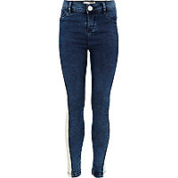 Girls blue dark wash side stripe jeggings