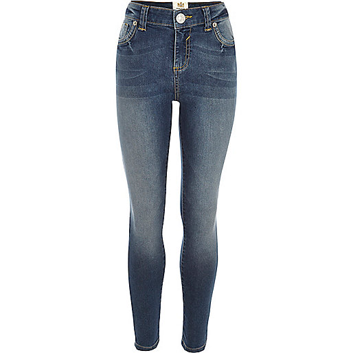 Girls blue mid wash skinny jeans