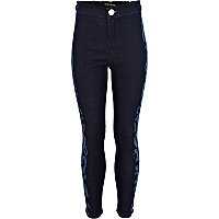 Girls blue dark wash number side jeggings