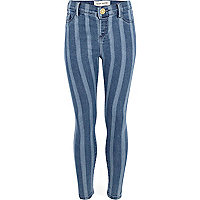 Girls blue stripe jeggings