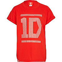 Girls red One Direction oversized t-shirt
