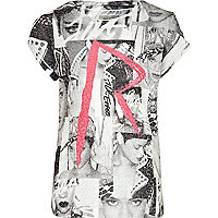 Girls white Rihanna print t-shirt