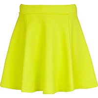 Girls lime green textured skater skirt
