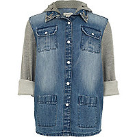 Girls contrast jersey sleeve denim shirt