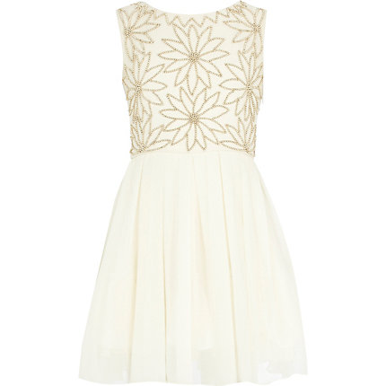 Girls cream beaded flower prom dress