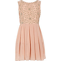 Girls pink beaded flower prom dress