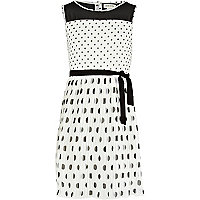 Girls white polka dot prom pleated dress