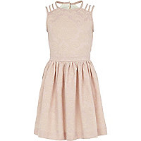 Girls light pink jacquard prom dress