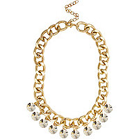 Girls gold tone chunky diamante necklace