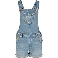 Girls blue denim studded pocket dungarees