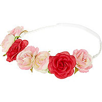 Girls pink rose garland