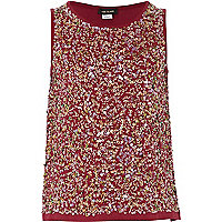 Girls red sequin front vest top