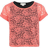 Girls coral 2 in 1 lace top