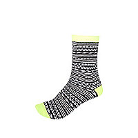Girls black aztec print socks