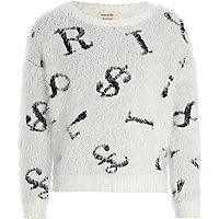Girls white random letter fluffy jumper