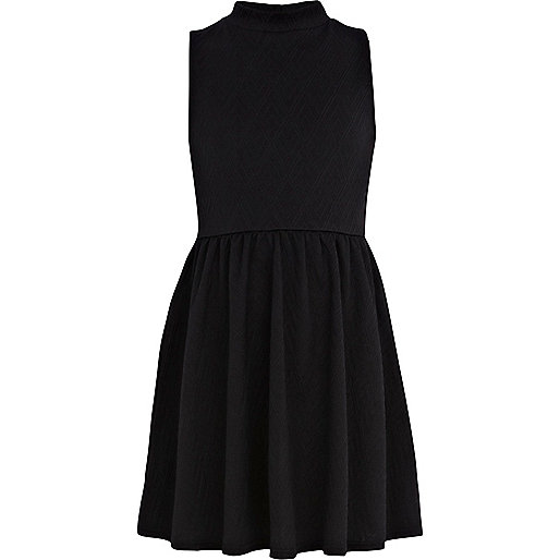 Girls black turtle neck skater dress