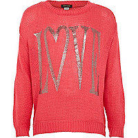 Girls coral Love jumper
