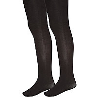 Girls black two pack black tights