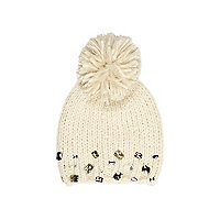 Girls cream gem bobble beanie hat