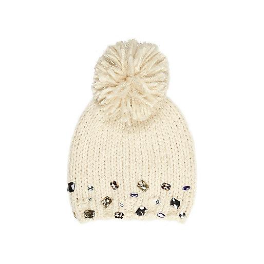 Girls cream gem bobble beanie hat