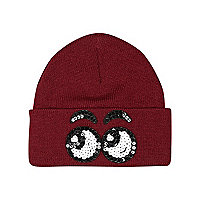 Girls dark red sequin eyes beanie hat