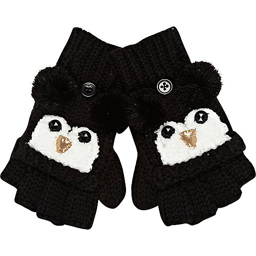 Girls black penguin mitten gloves