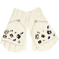 Girls cream gem mitten gloves