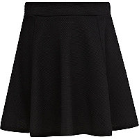 Girls black textured skater skirt