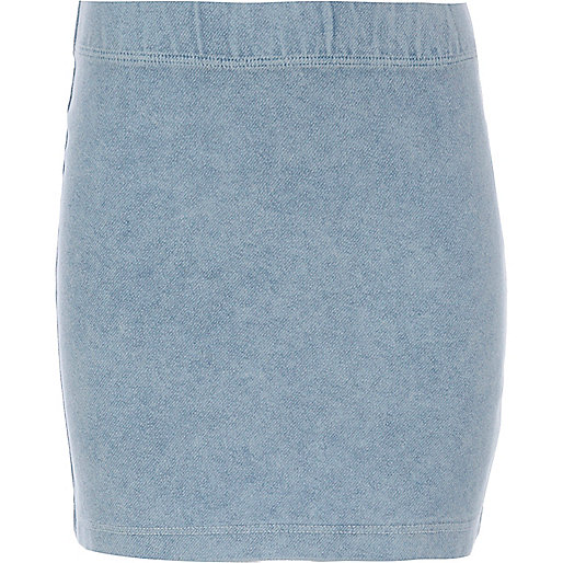 Girls blue denim look tube skirt