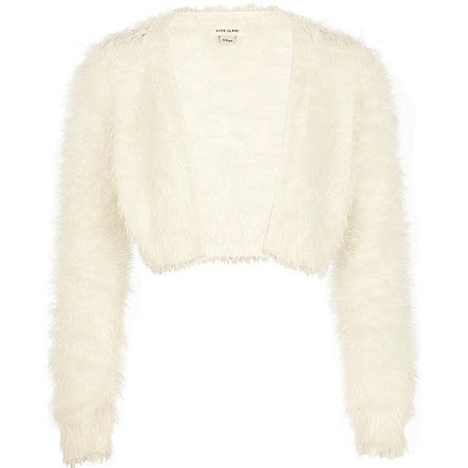 Girls cream fluffy shrug