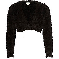 Girls black fluffy embellished shrug