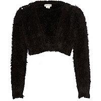 Girls black fluffy embellished shrug