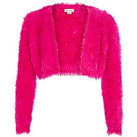Girls pink fluffy embellished shrug