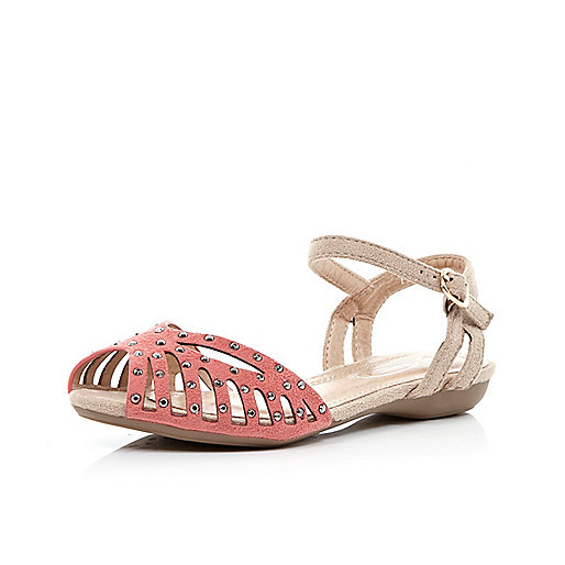 Girls pink studded cut out sandals