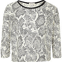 Girls black snake print top