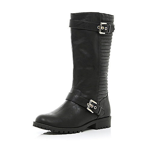 Girls black quilted riding boots