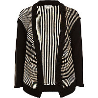 Girls black stripe waterfall cardigan