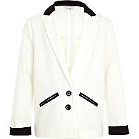 Girls cream colour block tux blazer
