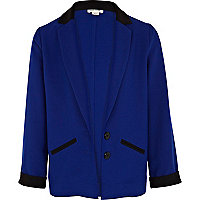 Girls blue colour block tux blazer