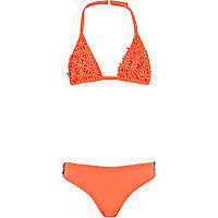 Girls orange 3d flower bikini