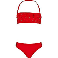 Girls red 3D flower bandeau bikini