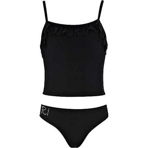 Girls black laser cut frill tankini