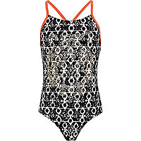Girls black aztec print studded swimsuit