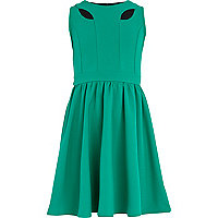 Girls green cut out skater dress