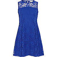 Girls blue lace sleeveless dress