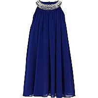 Girls dark blue babydoll dress