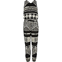 Girls black aztec jumpsuit