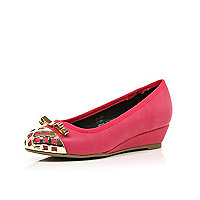 Girls bright pink metal toe ballerina wedges