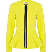 Girls lime textured peplum jacket