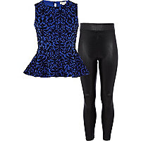 Girls blue baroque peplum and leggings set